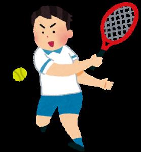 バックハンドでテニス肘になった人のイラスト