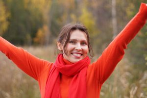 自律神経を整えて喜ぶ女性
